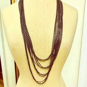 RE BAR Graphite Link Layered Necklace